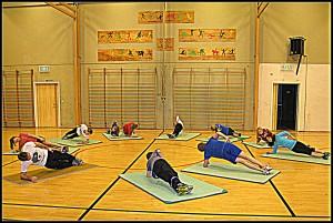 Inntrening i gymsalen Bergmo